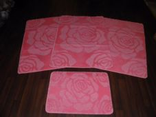 ROMANY WASHABLES NON SLIP 2018 SUPER THICK ROSE DESIGN FULL SET OF 4PCS PINK
